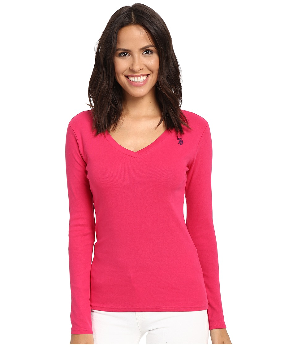 U.S. POLO ASSN. - Rib V-Neck T-Shirt (Bright Rose) Women's T Shirt