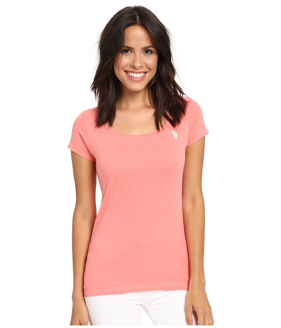 U.S. POLO ASSN. Scoop Neck Solid T-Shirt (Shell Pink) Women