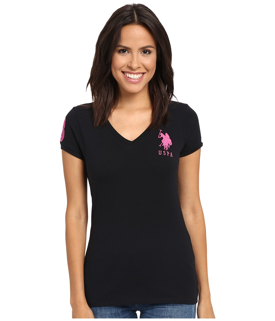 U.S. POLO ASSN. - Lace V-Neck T-Shirt (Anthracite) Women's Short Sleeve Pullover