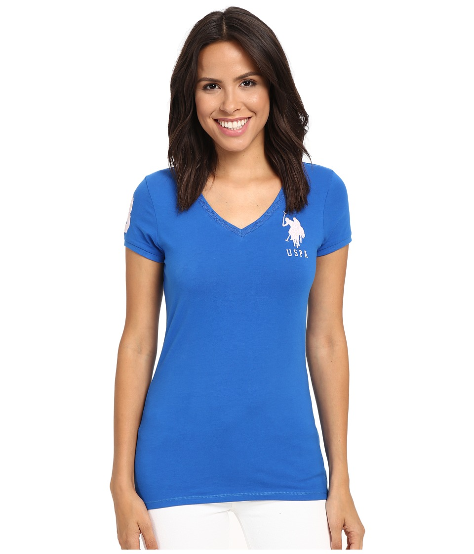 U.S. POLO ASSN. - Lace V-Neck T-Shirt (Princess Blue) Women's Short Sleeve Pullover