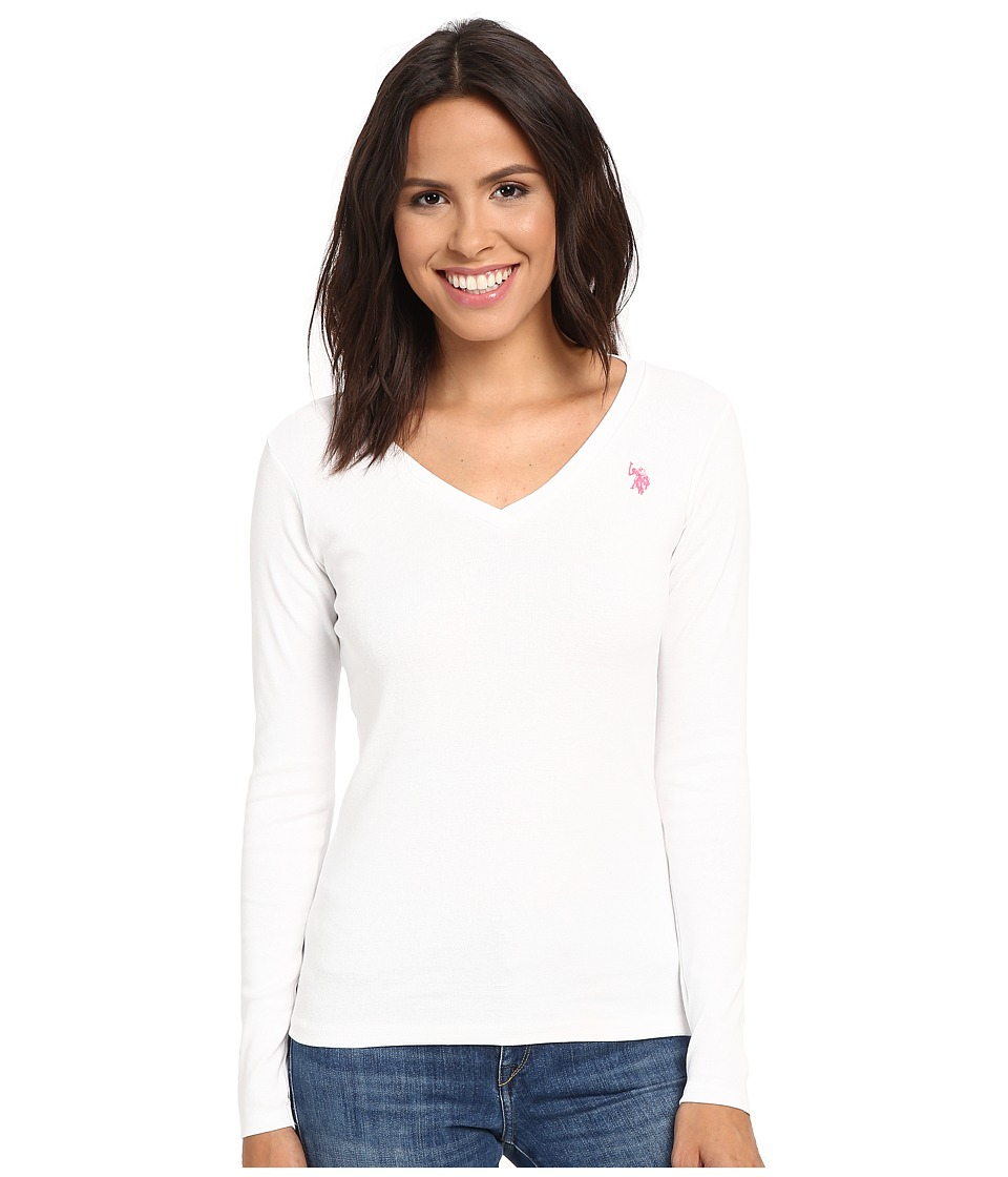 U.S. POLO ASSN. - Rib V-Neck T-Shirt (Bright White) Women's T Shirt