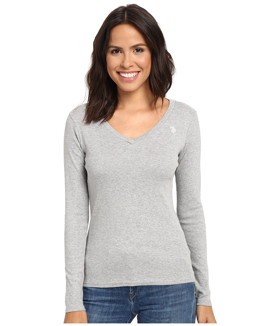 U.S. POLO ASSN. - Rib V-Neck T-Shirt (Heather Grey) Women's T Shirt