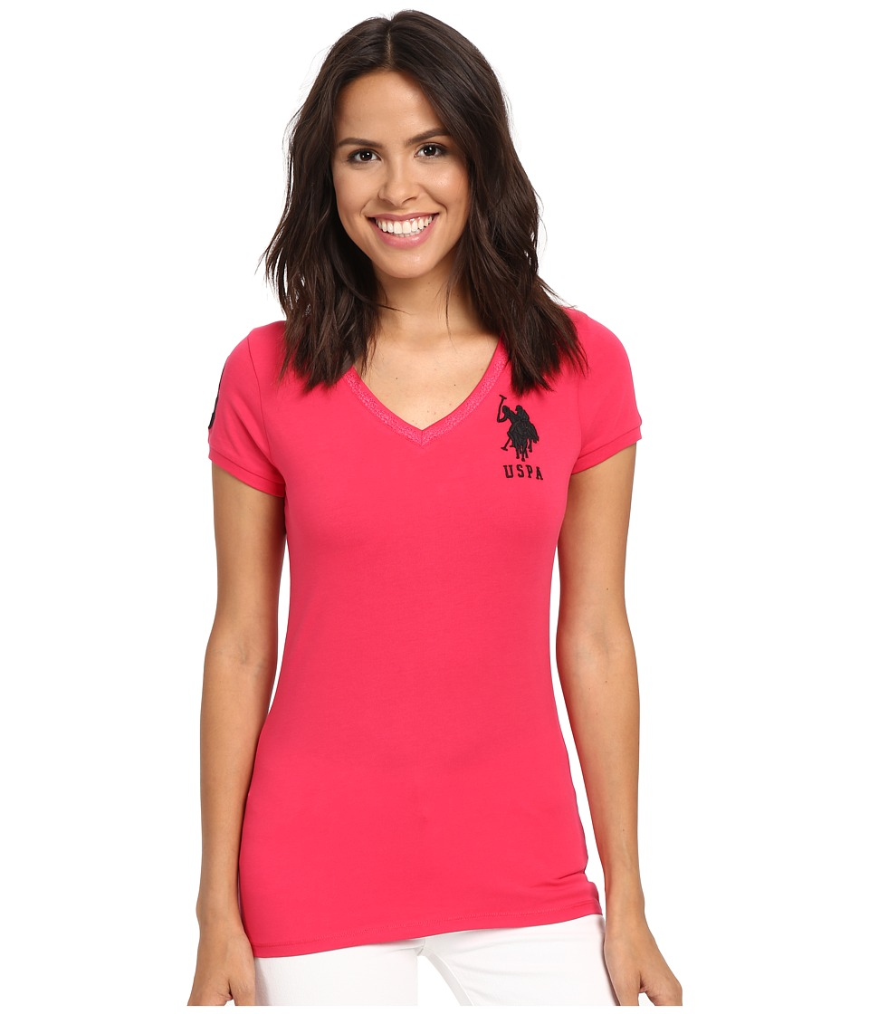 U.S. POLO ASSN. - Lace V-Neck T-Shirt (Azalea) Women's Short Sleeve Pullover