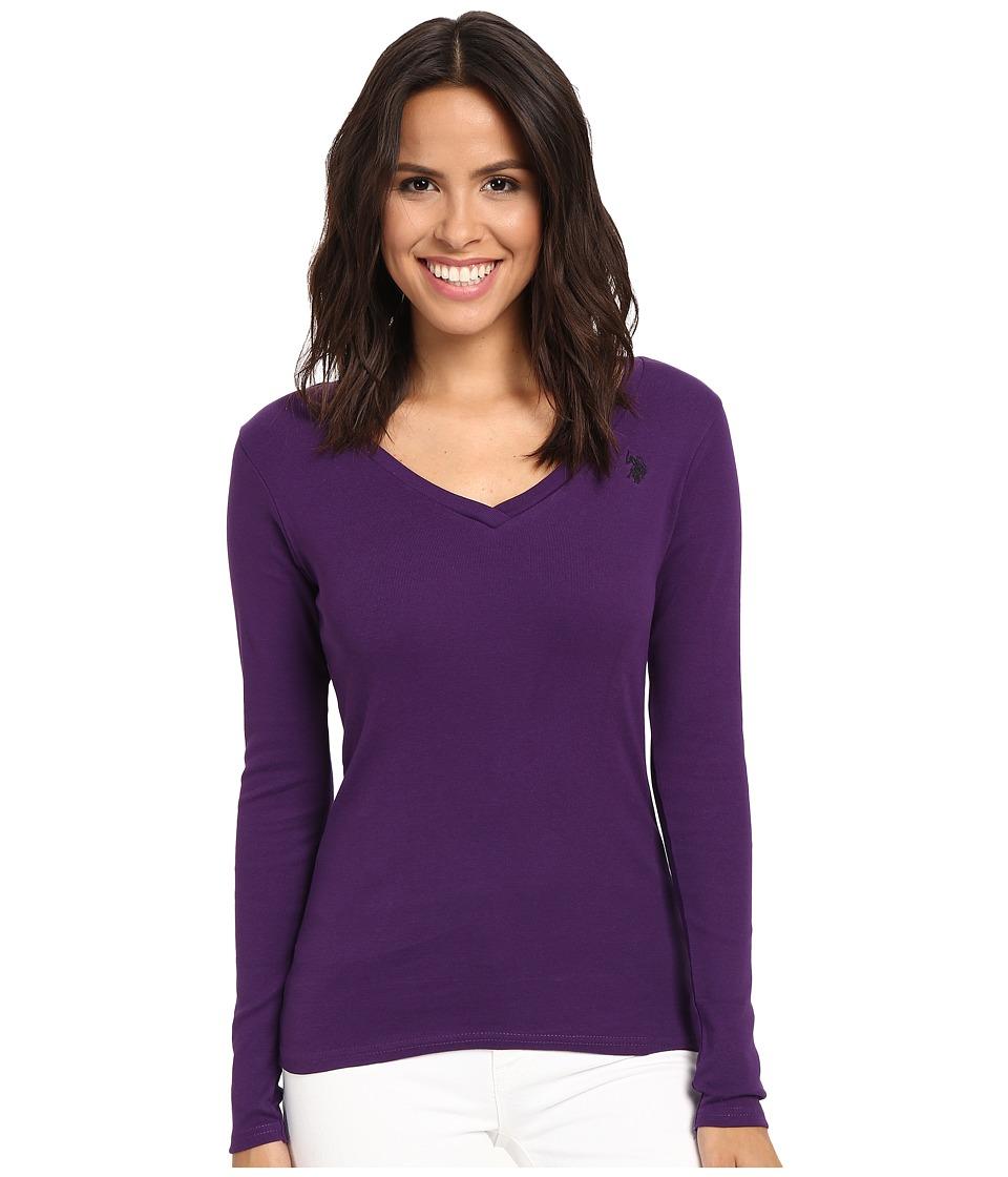 U.S. POLO ASSN. - Rib V-Neck T-Shirt (Crown Jewel) Women's T Shirt