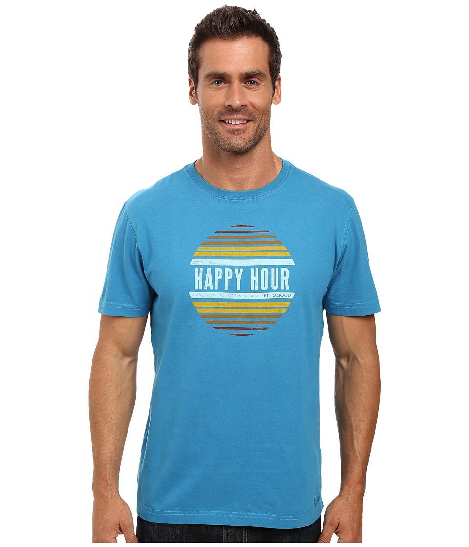 Life is good - Happy Hour Sun Crusher Tee (Denim Blue) Men's T Shirt