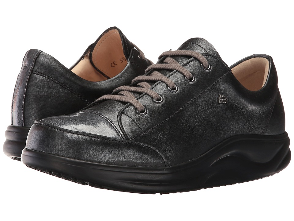 Finn Comfort - Ikebukuro (Negro/Stone Oxide/Patent) Women's Lace up casual Shoes