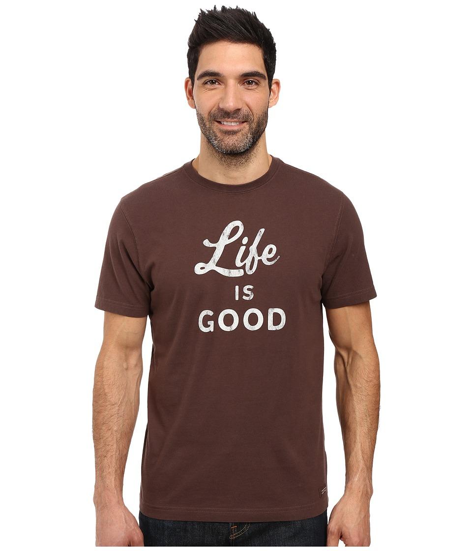 Life is Good - Life is Good(r) Script Crusher Tee (Darkest Brown) Men's T Shirt