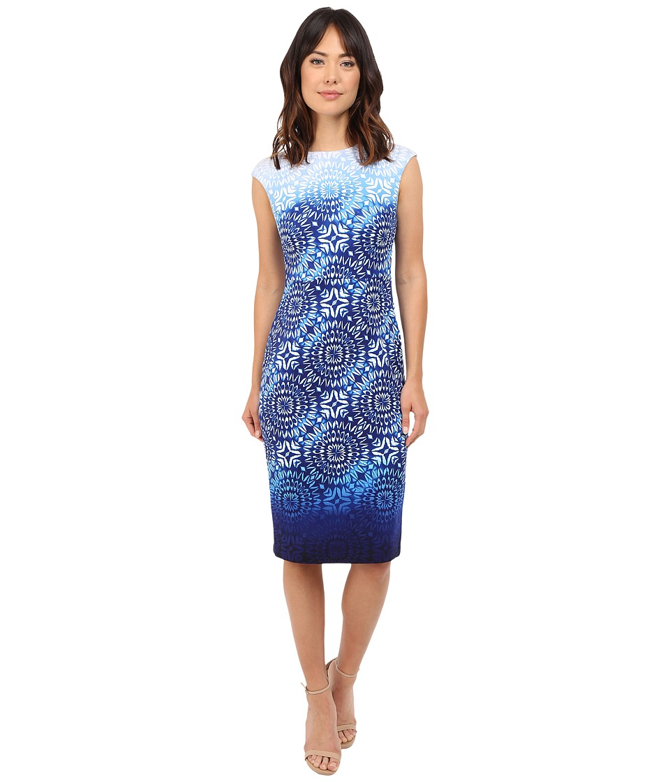 Maggy London - Ombre Batik Printed Scuba Sheath Dress with Cap Sleeve (Soft White/Sky) Women's Dress