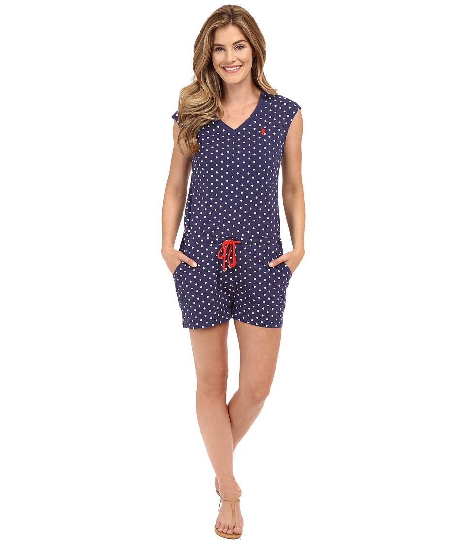 U.S. POLO ASSN. - Short Sleeve Dot Print V-Neck Romper (Patriot Blue) Women's Jumpsuit & Rompers One Piece