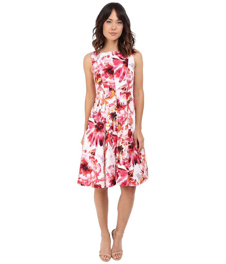 Maggy London - Painted Floral Cotton Fit and Flare Dress (Soft White/Primrose) Women's Dress