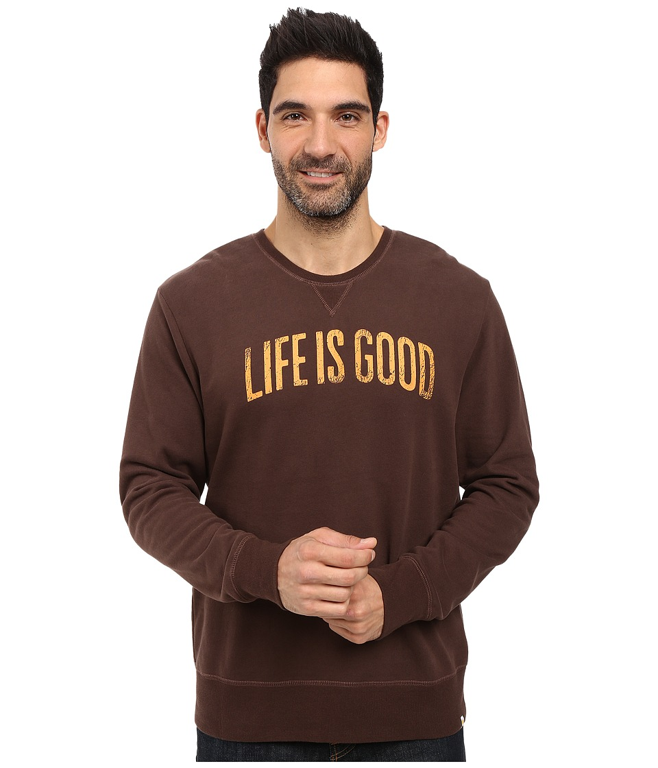 Life is good - Life is Good Arch Go-To Crew (Darkest Brown) Men's Long Sleeve Pullover