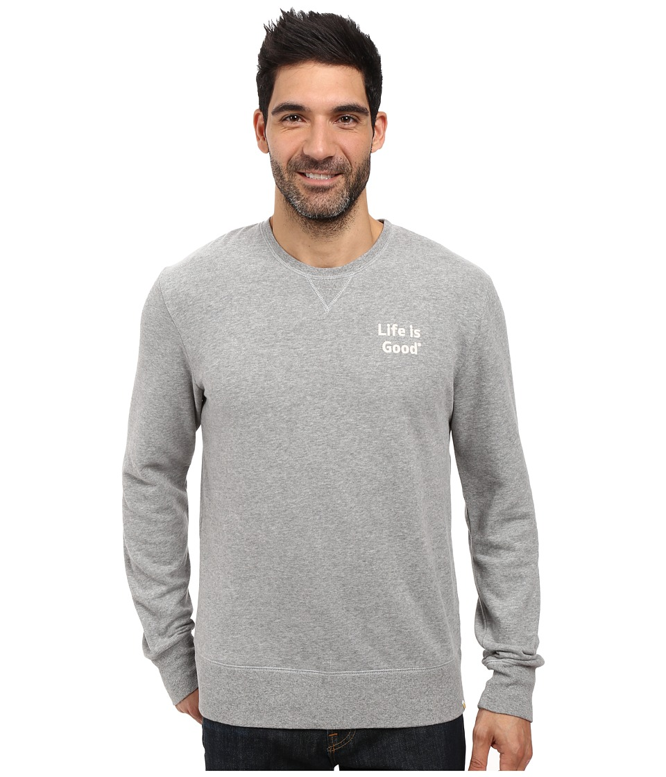 Life is good - Life is Good Bold Go-To Crew (Heather Gray) Men's Long Sleeve Pullover