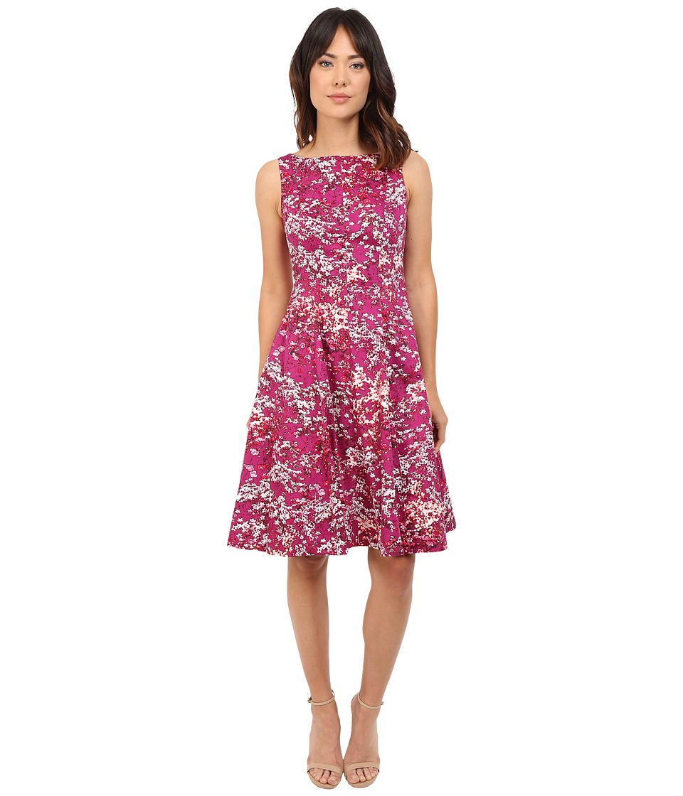 Maggy London - Japanese Blossom Printed Cotton Fit and Flare Dress (Pink/Red) Women's Dress