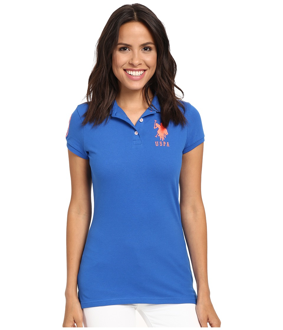 U.S. POLO ASSN. - Neon Logos Short Sleeve Polo Shirt (Princess Blue) Women's Short Sleeve Knit