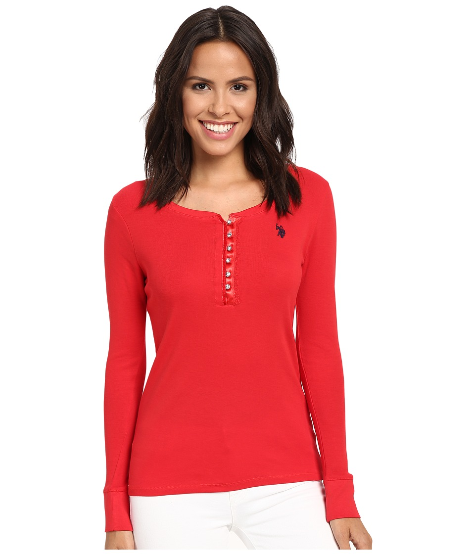 U.S. POLO ASSN. - Bling Henley (Racing Red) Women's Clothing