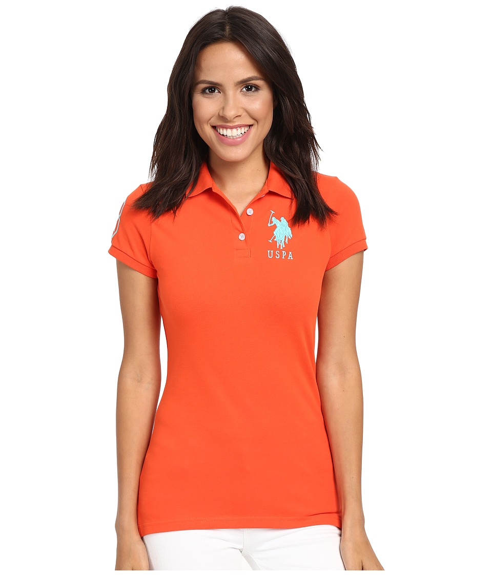 U.S. POLO ASSN. - Neon Logos Short Sleeve Polo Shirt (Mandarin Red) Women's Short Sleeve Knit