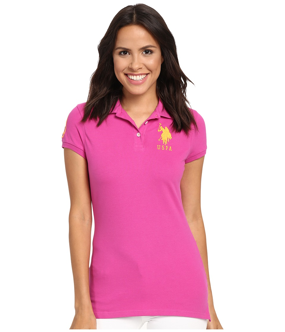 U.S. POLO ASSN. - Neon Logos Short Sleeve Polo Shirt (Rose Violet) Women's Short Sleeve Knit