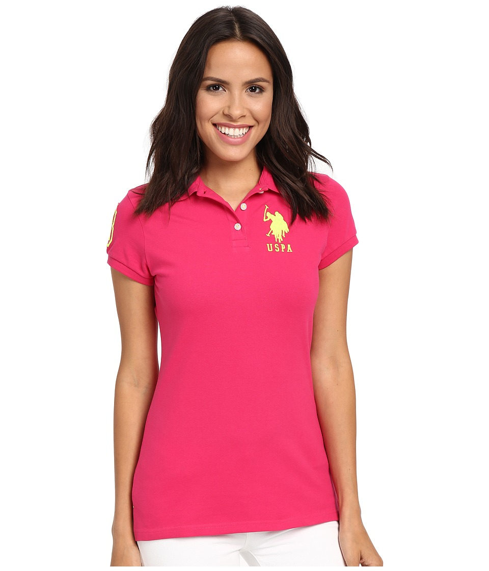 U.S. POLO ASSN. - Neon Logos Short Sleeve Polo Shirt (Bright Rose) Women's Short Sleeve Knit
