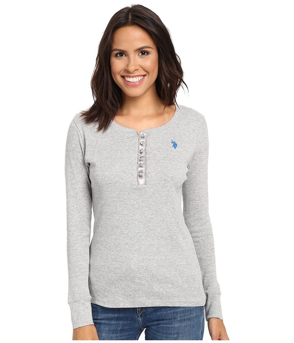 U.S. POLO ASSN. - Bling Henley (Heather Grey) Women's Clothing