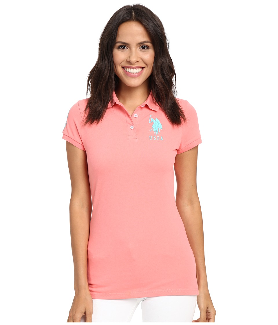 U.S. POLO ASSN. - Neon Logos Short Sleeve Polo Shirt (Shell Pink) Women's Short Sleeve Knit