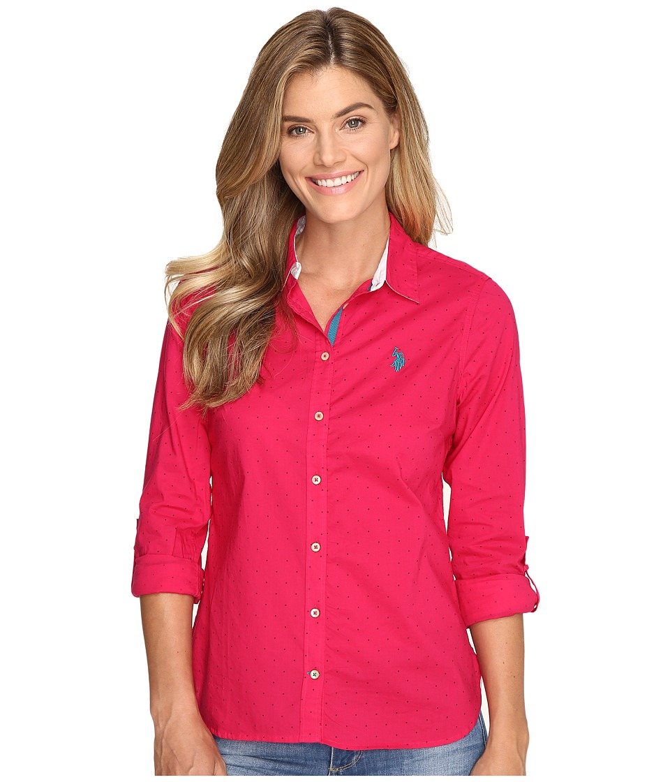 U.S. POLO ASSN. - Printed Poplin Shirt (Bright Rose) Women's Clothing