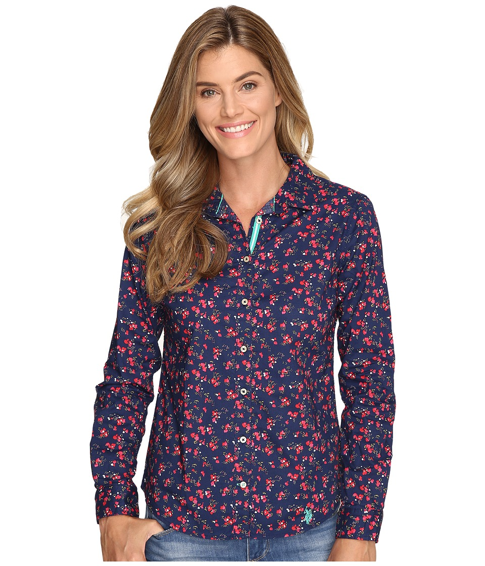 U.S. POLO ASSN. - Floral Print Poplin Shirt (Evening Blue) Women's Clothing