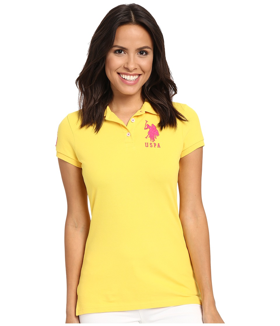 U.S. POLO ASSN. - Neon Logos Short Sleeve Polo Shirt (Maize) Women's Short Sleeve Knit