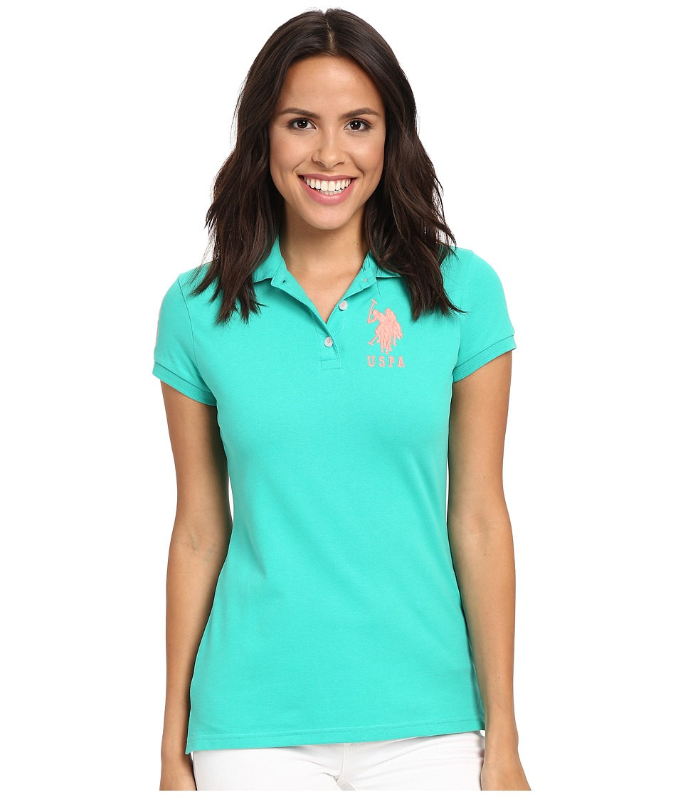 U.S. POLO ASSN. - Neon Logos Short Sleeve Polo Shirt (Peacock Green) Women's Short Sleeve Knit