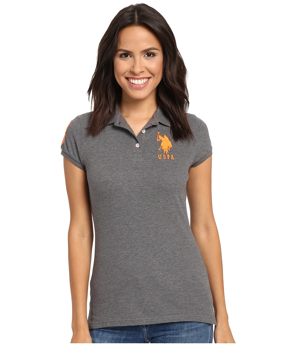 U.S. POLO ASSN. - Neon Logos Short Sleeve Polo Shirt (Heather Dark Gray) Women's Short Sleeve Knit
