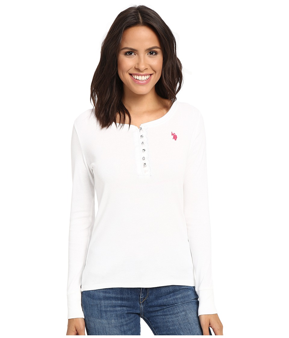U.S. POLO ASSN. - Bling Henley (Bright White) Women's Clothing