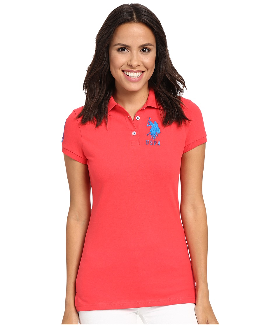 U.S. POLO ASSN. - Neon Logos Short Sleeve Polo Shirt (Red/Blue) Women's Short Sleeve Knit