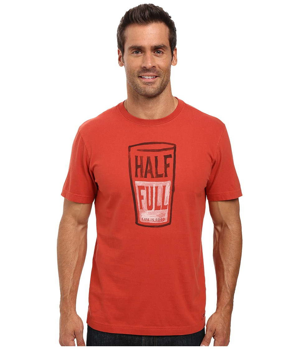Life is good - Half Full Pint Crusher Tee (Earthy Rust) Men's T Shirt