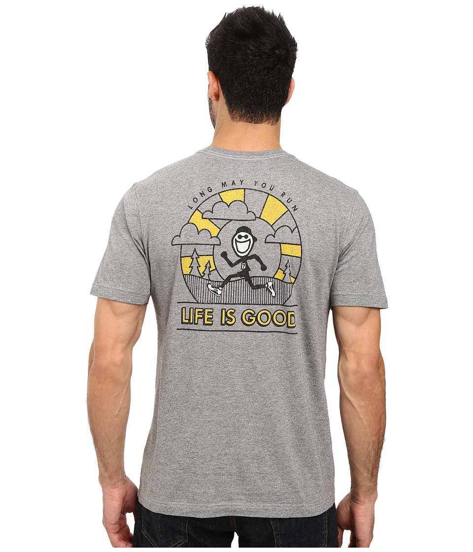 Life is Good - Long May You Run Pocket Crusher Tee (Heather Gray) Men's T Shirt