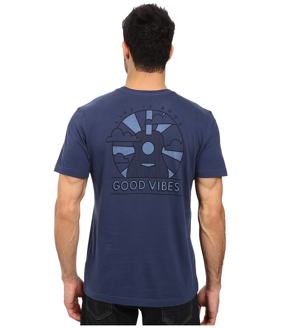 Life is Good - Good Vibes Guitar Pocket Crusher Tee (Darkest Blue) Men's T Shirt
