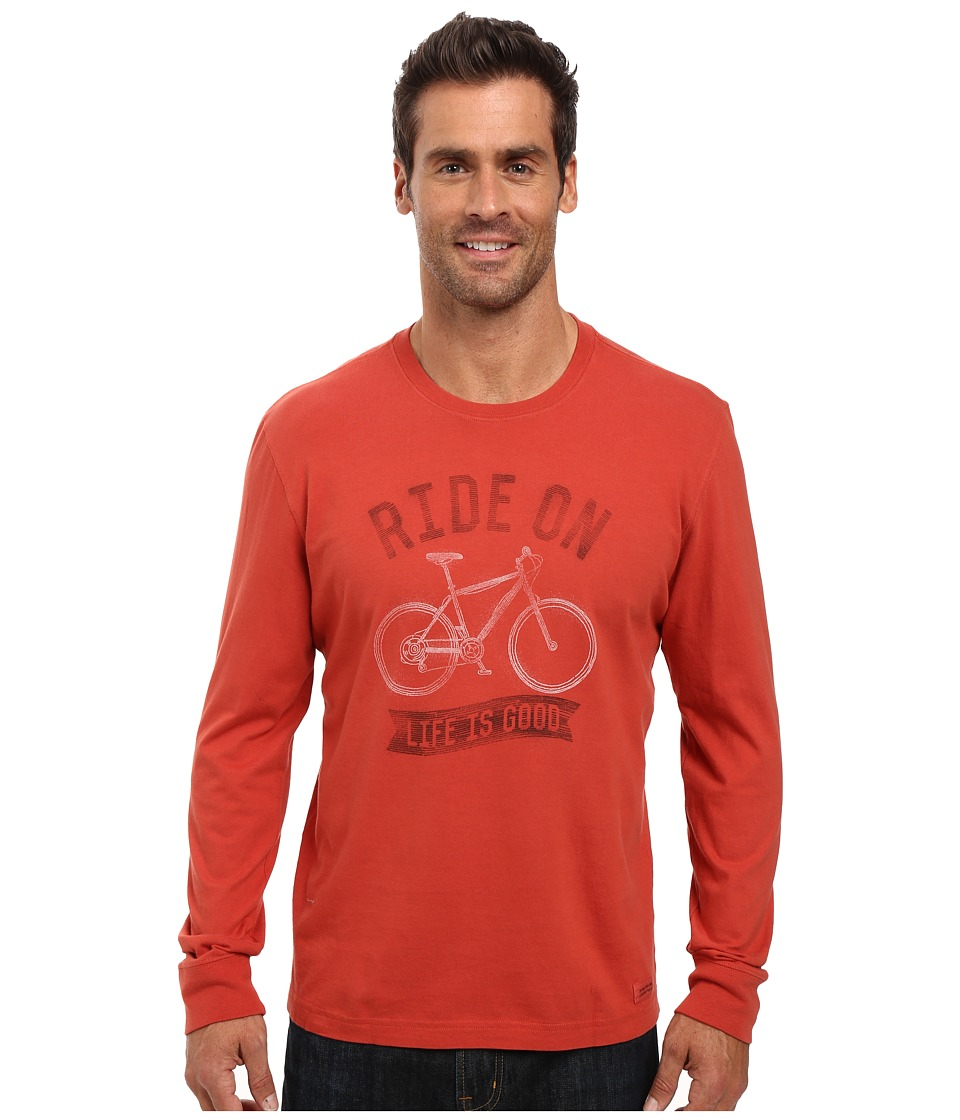 Life is good - Ride On Bike Long Sleeve Crusher Tee (Earthy Rust) Men's Long Sleeve Pullover