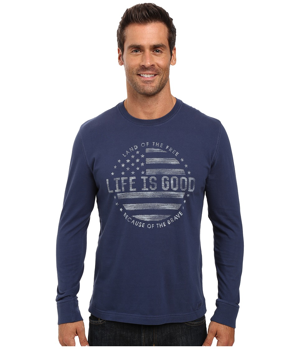 Life is good - Land Of The Free Flag Long Sleeve Crusher Tee (Darkest Blue) Men's Long Sleeve Pullover