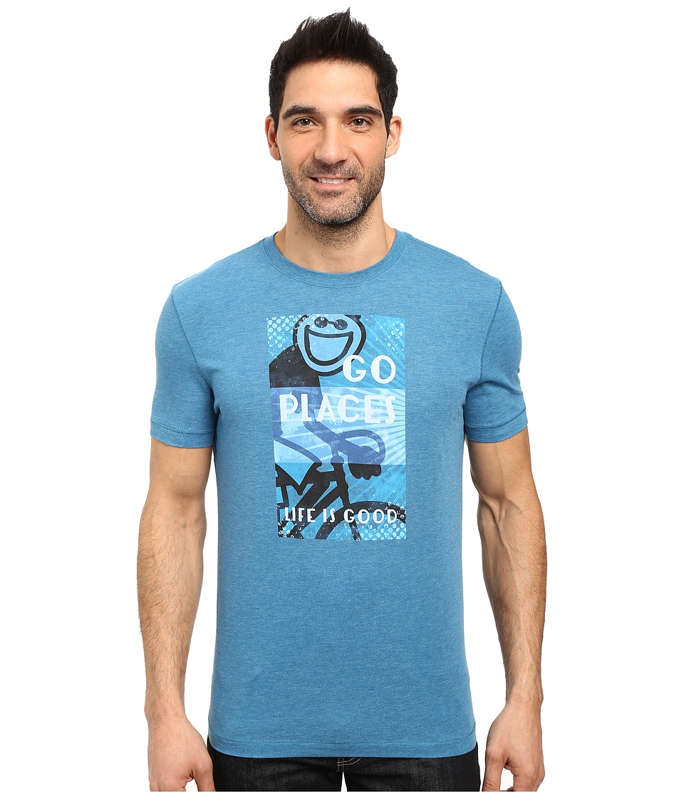 Life is good - Go Places Jake Overlay Cool Tee (Denim Blue) Men's T Shirt