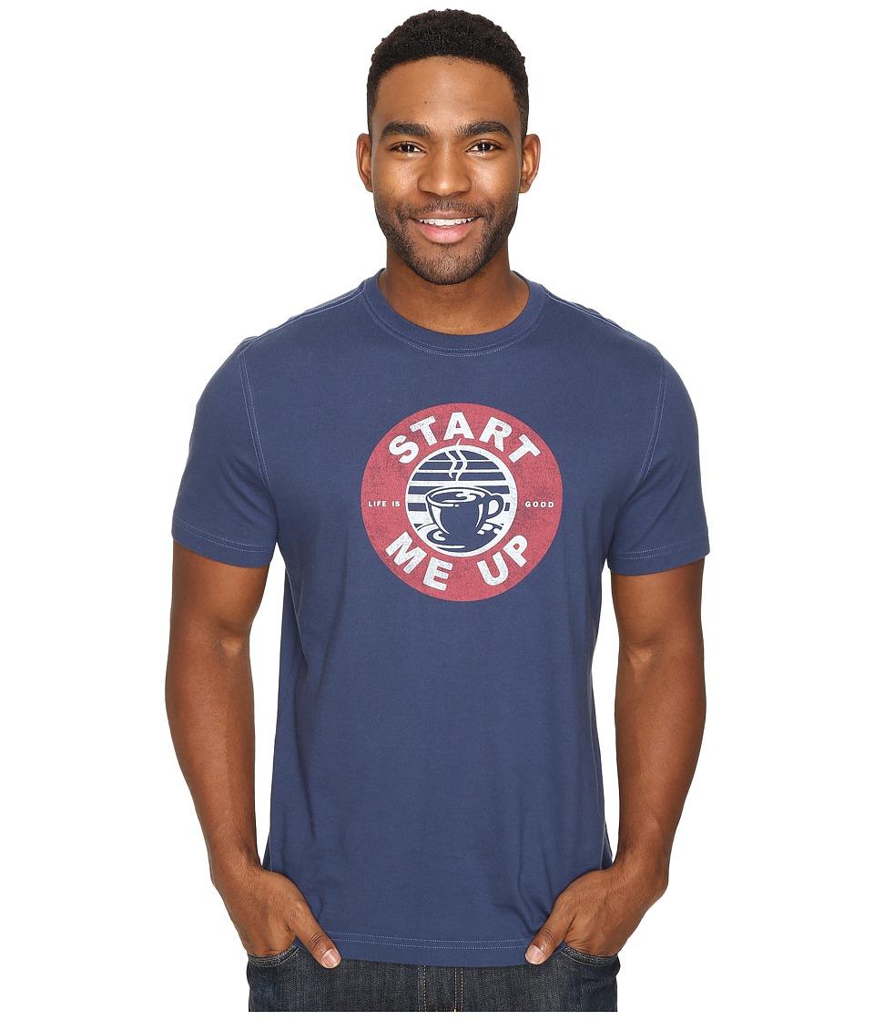 Life is Good - Start Me Up Coffee Circle Crusher Tee (Darkest Blue) Men's T Shirt