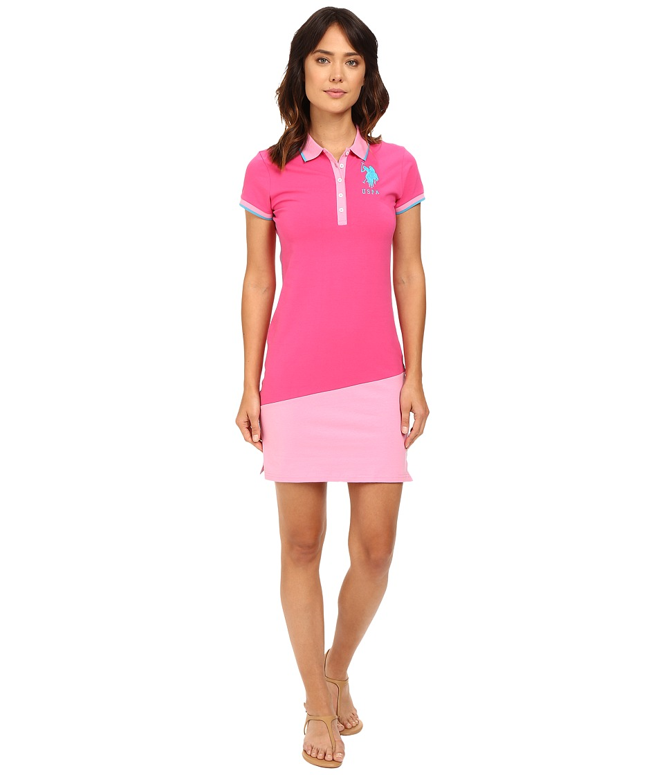 U.S. POLO ASSN. - Diagonal Color Block Jersey Polo Dress (Magenta) Women's Dress