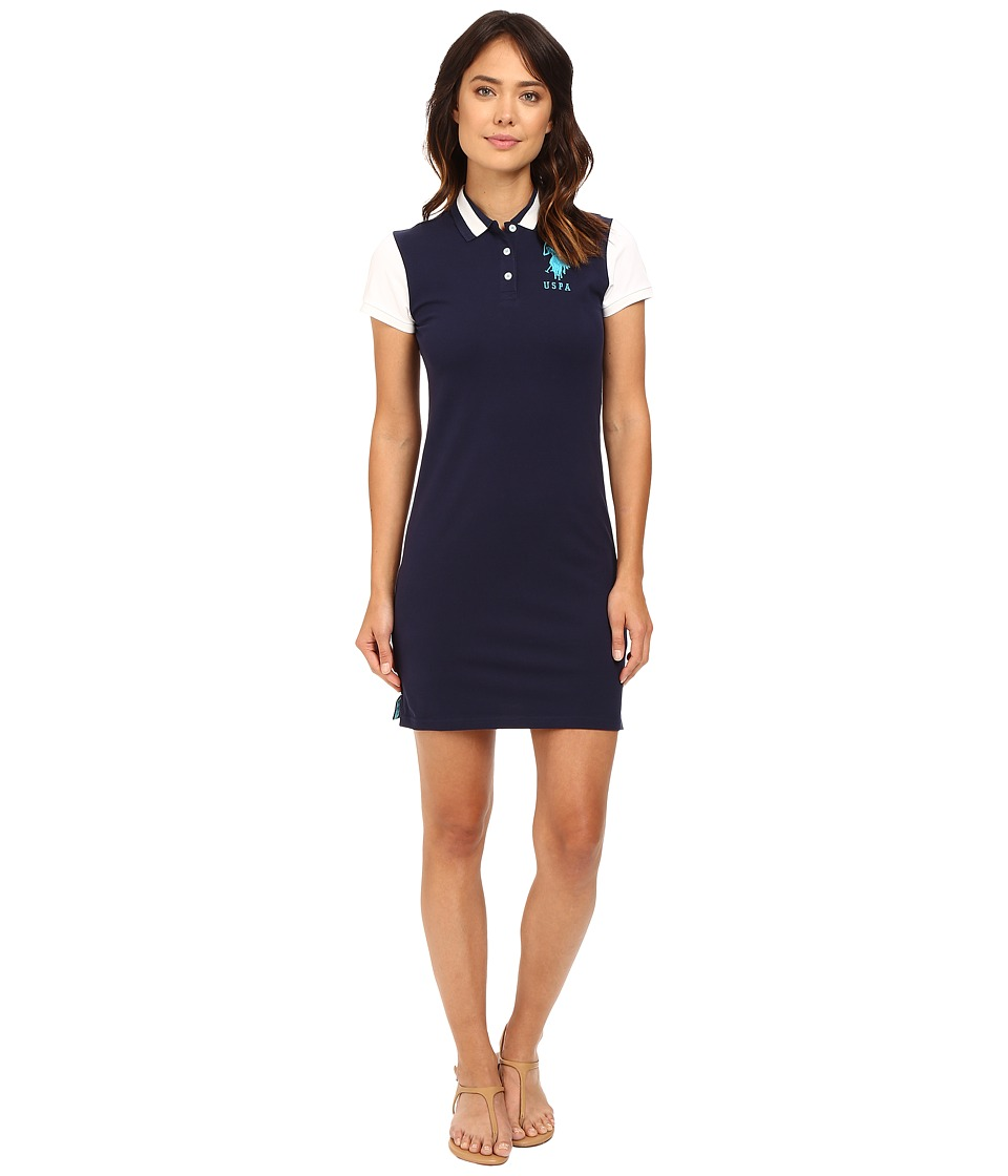 U.S. POLO ASSN. - Color Block Stretch Pique Polo Dress (Tribal Navy) Women's Dress