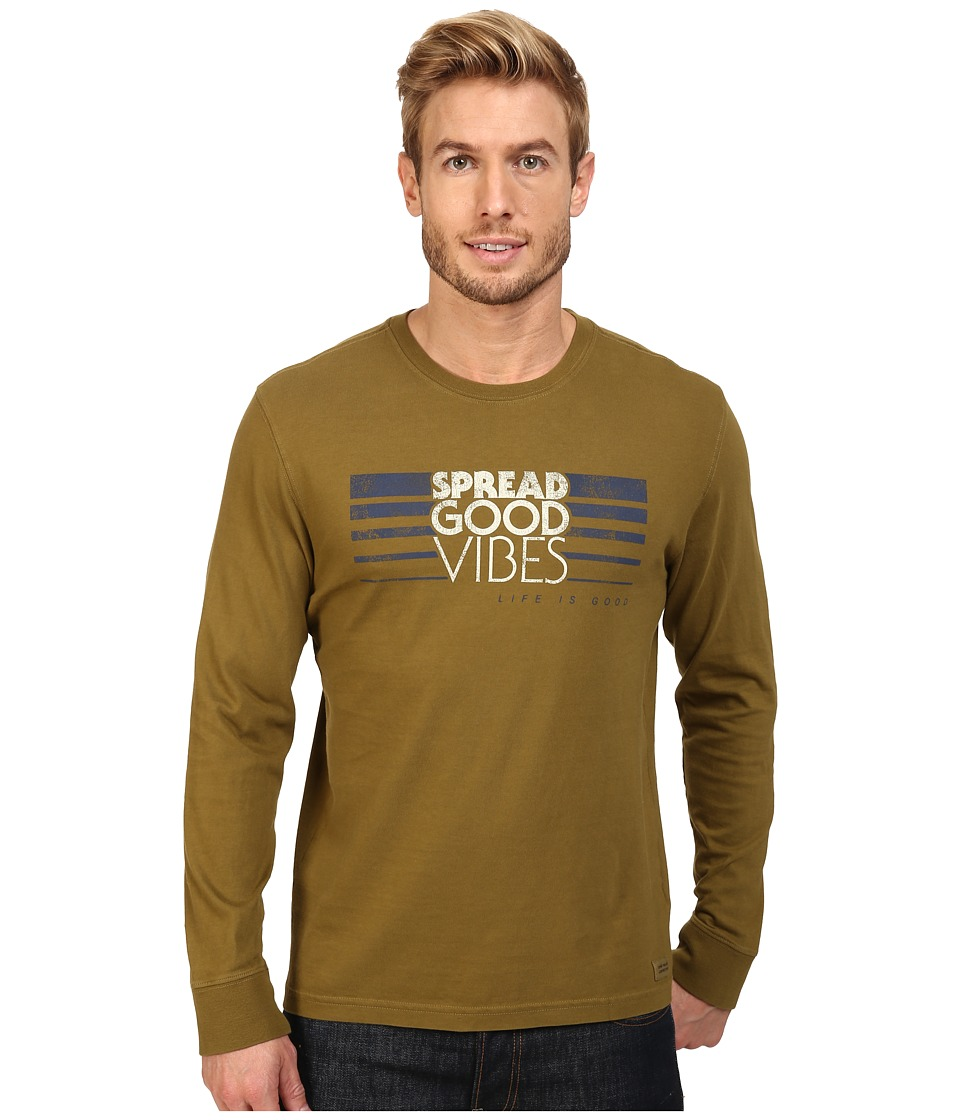Life is Good - Spread Good Vibes Stripe Long Sleeve Crusher Tee (Woodland Green) Men's Long Sleeve Pullover