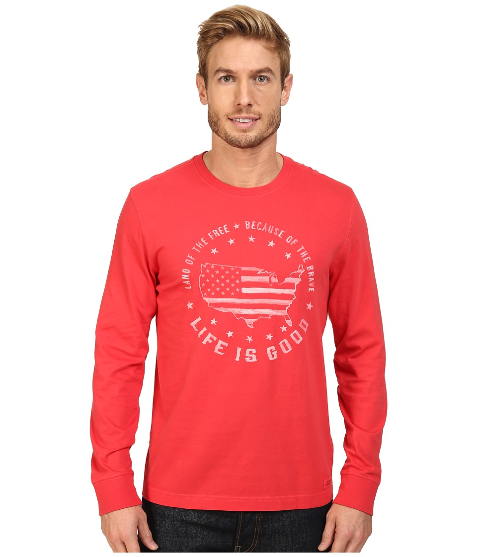 Life is good - Land Of The Free USA Map Long Sleeve Crusher Tee (Simply Red) Men's Long Sleeve Pullover