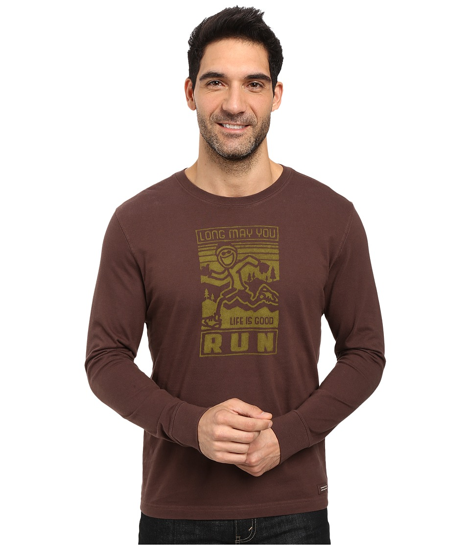 Life is good - Long May You Run Long Sleeve Crusher Tee (Darkest Brown) Men's Long Sleeve Pullover
