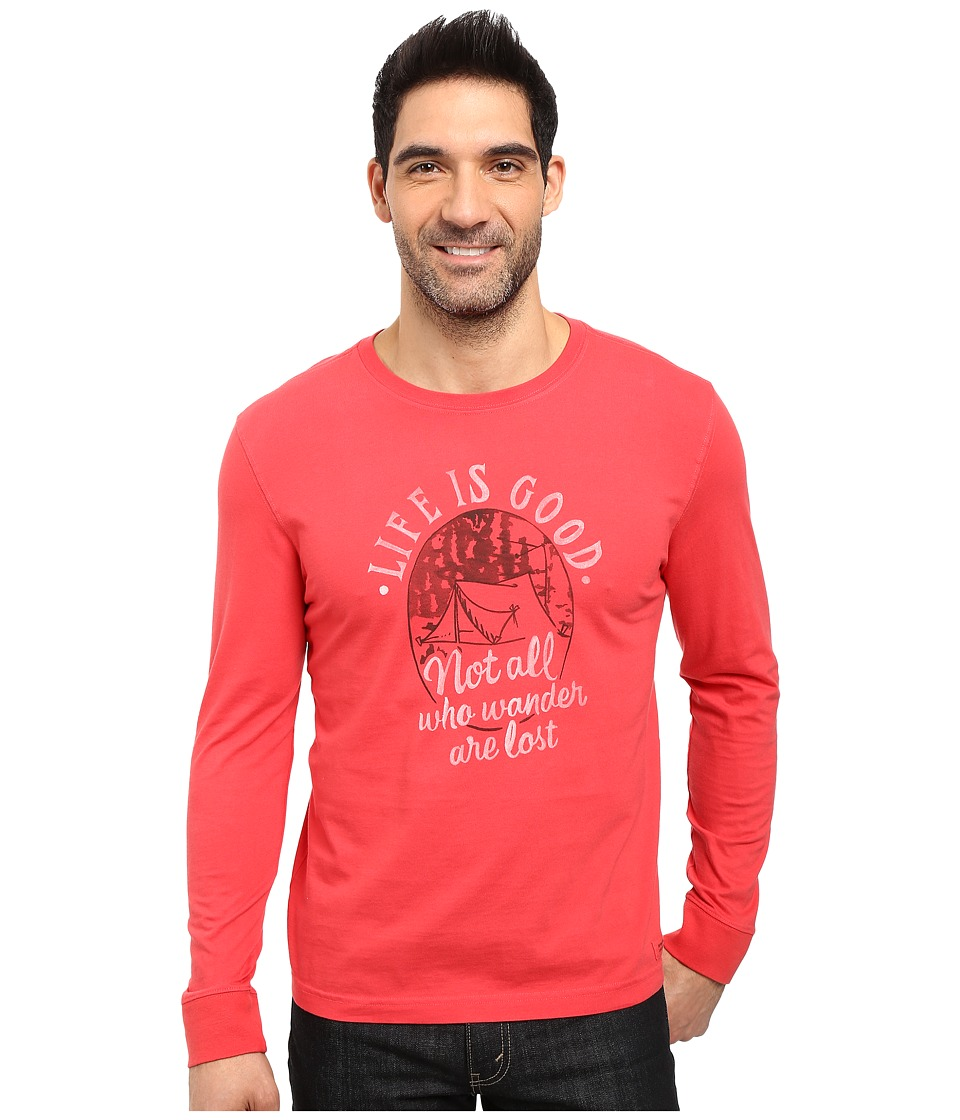 Life is good - Not All Who Wander Are Lost Tent Long Sleeve Crusher Tee (Simply Red) Men's Long Sleeve Pullover
