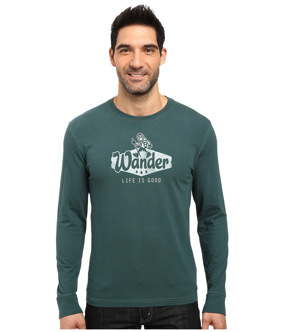 Life is good - Wander Long Sleeve Crusher Tee (Balsam Green) Men's Long Sleeve Pullover