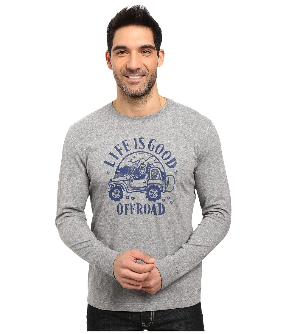 Life is good - Off Road Long Sleeve Crusher Tee (Heather Gray) Men's Long Sleeve Pullover