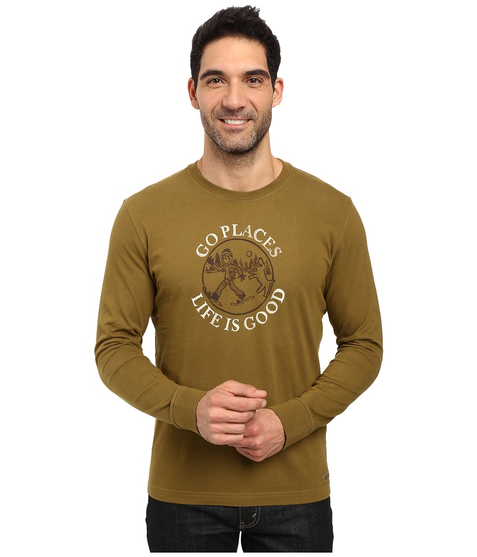 Life is Good - Go Places Snowshoe Long Sleeve Crusher Tee (Woodland Green) Men's Long Sleeve Pullover