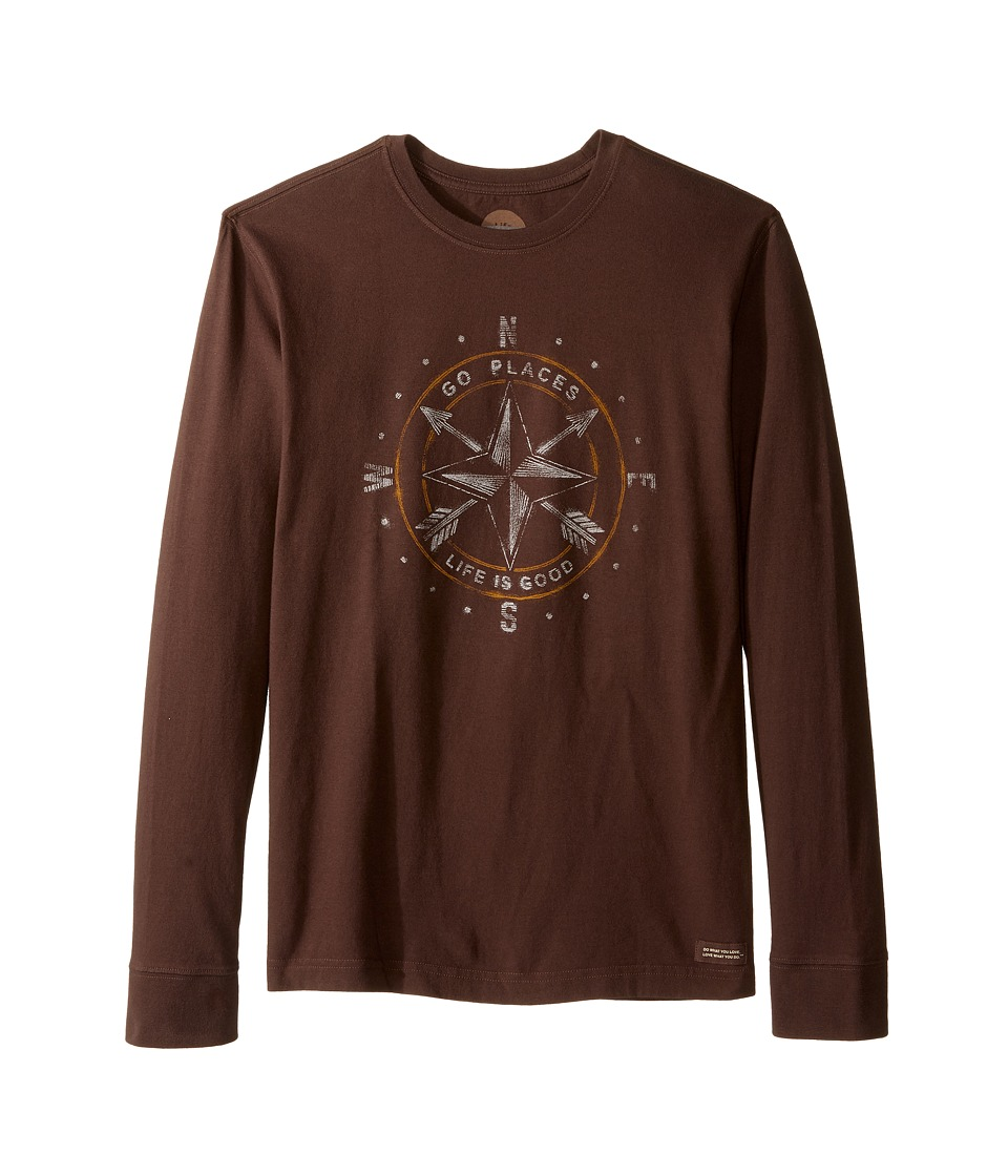 Life is good - Go Places Compass Long Sleeve Crusher Tee (Darkest Brown) Men's Long Sleeve Pullover