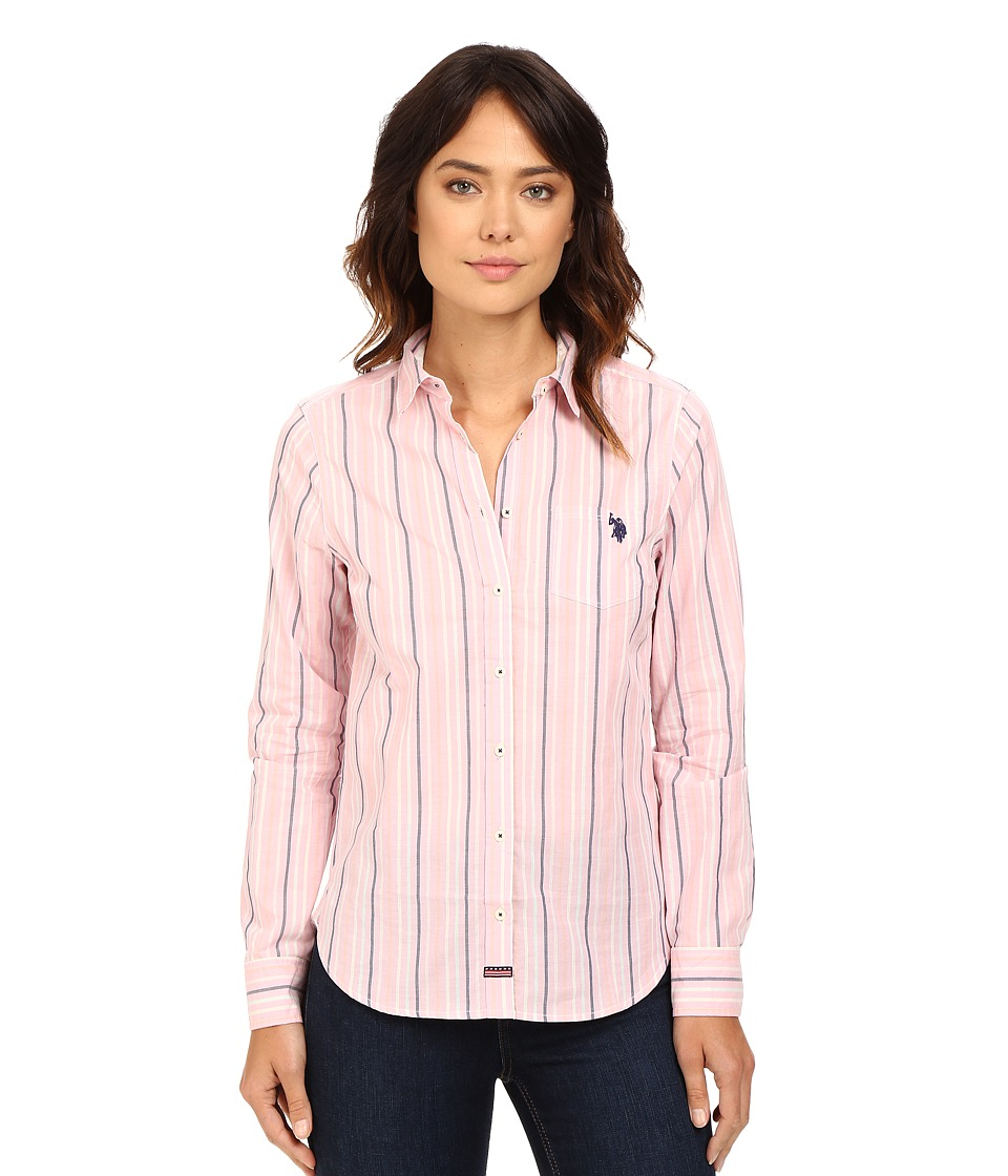 U.S. POLO ASSN. - Casual Striped Blouse (Prism Pink) Women's Blouse
