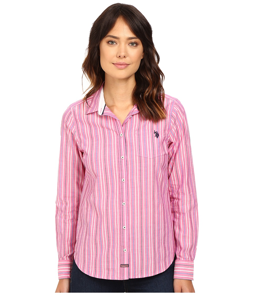 U.S. POLO ASSN. - Casual Striped Blouse (Pink Peak) Women's Blouse plus size,  plus size fashion plus size appare